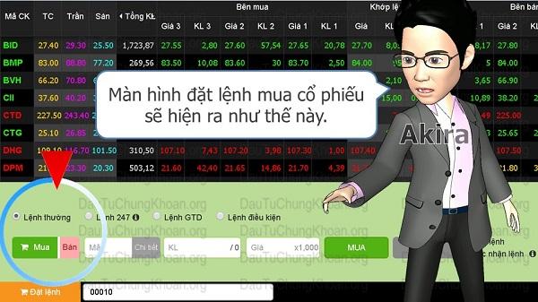 Đặt lệnh mua bán cổ phiếu trực tuyến